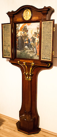 """A German Art Nouveau gilt bronze and brass mounted rosewood commemorative tryptic Berlin, signed and dated 1901, the cabinet by Alfred Grenander (1863 – 1931), the painting by Arthur Kampf (1864 – 1950) and the metalwork by Otto Rohloff (1863 – 1919)"""
